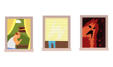 Neighbors in Windows Set, Different Situations in Apartments Cartoon Style Vector Illustration