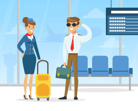 Pilot and Stewardess, Professional Aviation Crew Members in Uniform Standing with Luggage in Airport Vector Illustration 向量圖像