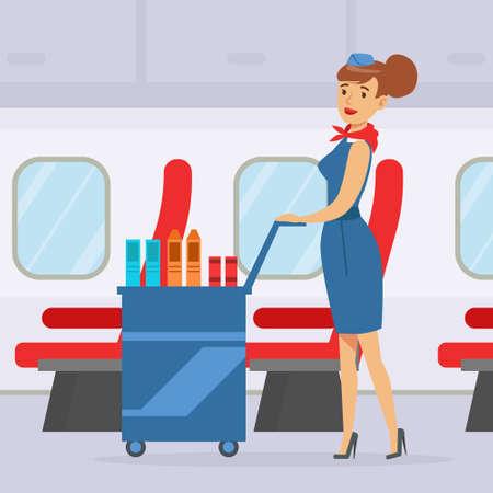Flight Attendant Pushing Cart with Drinks on Board, Stewardess Serving Passengers During Flight Vector Illustration Illustration