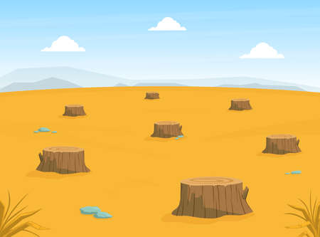Sandy Desert Landscape with Many Stumps, Deforestation, Drought, Global Warming Conept Vector Illustration
