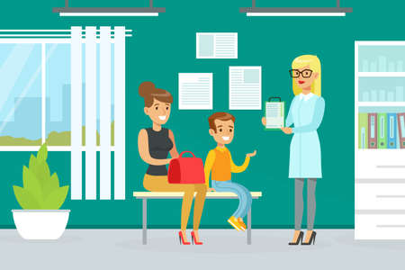 Mother and Son Visiting Doctor Together for Checkup at Pediatrician Office, Doctor Woman Doing Medical Examination of Kid, Medical Service Concept Vector Illustration Vetores