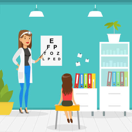 Optometrist Checking Girl Eyesight with Test Chart in Office, Doctor Woman Doing Medical Examination of Kid, Medical Service Concept Vector Illustration