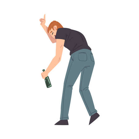Back View of Man with Alcohol Drink Bottle in his Hands, Drunkenness, Bad Habit Concept Cartoon Style Vector Illustration