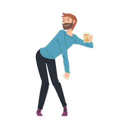 Drunk Young Man with Mug of Beer in his Hands, Boozy Drunk Man Walking Tipsy Screwed, Drunkenness, Bad Habit Concept Cartoon Style Vector Illustration Illustration