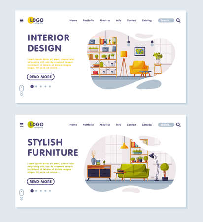 Interior Design, Stylish Furniture Landing Page, Cozy Apartments with Comfy Furniture, Creation Home Interior Website Vector Illustration Vettoriali
