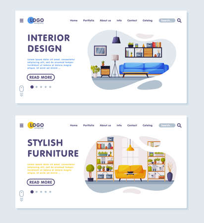 Interior Design, Stylish Furniture Landing Page, Modern Cozy Apartments Comfy Furniture, Creation Home Interior Service Website Vector Illustration