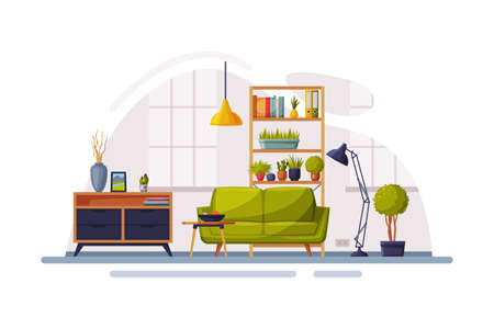Modern Room Interior Design, Cozy Apartments with Comfy Furniture and Home Decor, Wooden Bookcase, Stand and Sofa in front of Window Vector Illustration Vetores