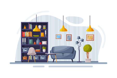 Modern Room Interior Design, Cozy Apartments with Comfy Furniture and Home Decor, Bookcase, Sofa and Lamps Vector Illustration
