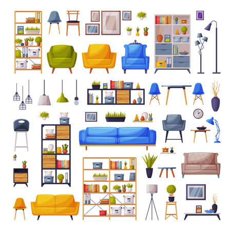 Moden Comfy Furniture and Home Decor Collection, Cosy Trendy Apartments Interior Design Vector Illustration
