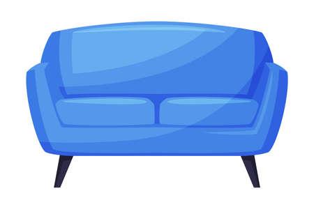Blue Comfortable Sofa, Cozy Room Interior Design Cartoon Style Vector Illustration on White Background Vettoriali