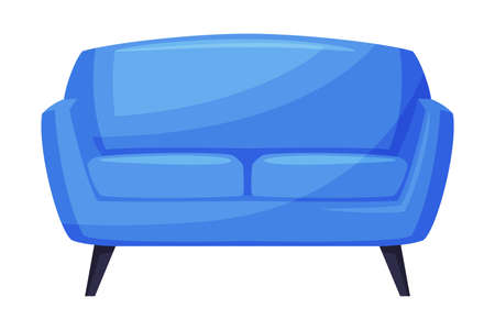 Blue Comfortable Sofa, Cozy Room Interior Design Cartoon Style Vector Illustration on White Background Vector Illustration