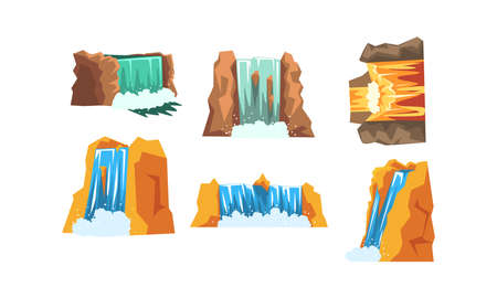 Waterfalls Set, Mountain Landscape Elements, Cascading Water Stream Cartoon Style Vector Illustration