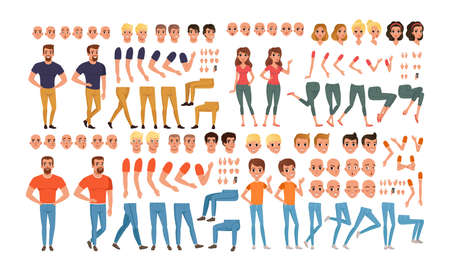 Male and Female Characters Creation Set, People Constructor with Various Views, Face Emotions, Poses Cartoon Style Vector Illustration