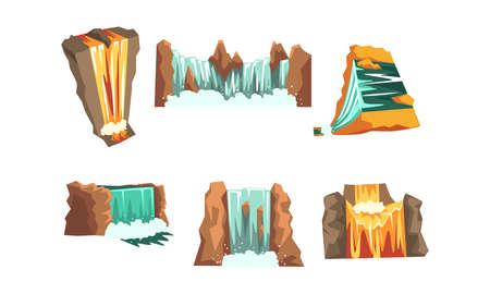 Waterfalls Set, Mountain Landscape Elements Cartoon Style Vector Illustration