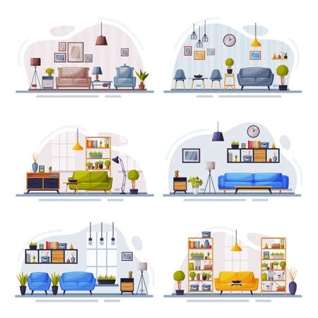 Modern Home Interiors with Comfy Furniture Set, Cozy Apartments Design Vector Illustration