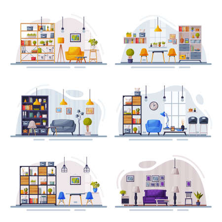 Modern Home Interiors with Comfy Furniture Set, Cozy Apartments Furnished in Trendy Scandinavian Style Vector Illustration