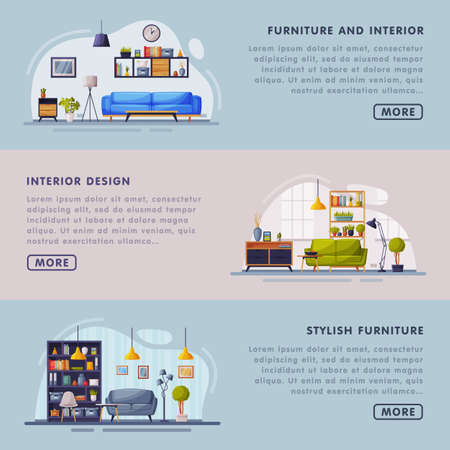 Interior and Stylish Furniture Design Landing Page Templates Set, Cozy Apartments Space, Comfy Furniture, Creation Home Interior Website Vector Illustration