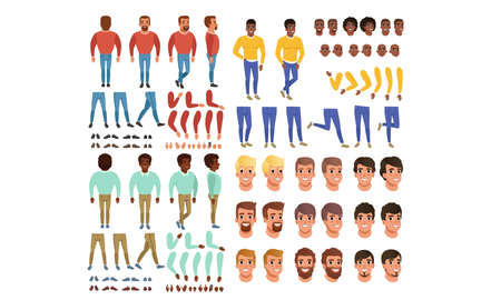 Male Characters Creation Set, Guy Constructor with Various Views, Face Emotions, Poses Cartoon Style Vector Illustration Ilustração