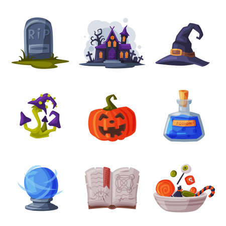 Halloween Symbols Collection, Holiday Party Design Elements, Old Gravestone, Scary Castle, Pumpkin, Poisonous Mushroom, Magic Book Cartoon Style Vector Illustration Ilustração