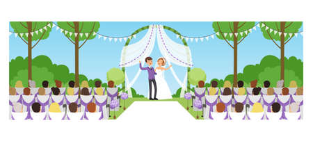 Outdoor Marriage Celebration in Park, Happy Newlyweds and their Guests Cartoon Style Vector Illustration 向量圖像