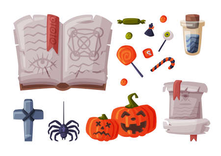Halloween Symbols Collection, Holiday Party Design Elements, Skeleton, Pumpkin, Magic Book, Cross, Paper Scroll Cartoon Style Vector Illustration