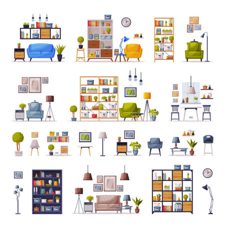 Modern Interiors with Comfy Furniture Set, Cozy Apartments Design, Home Decor Collection Vector Illustration Ilustrace