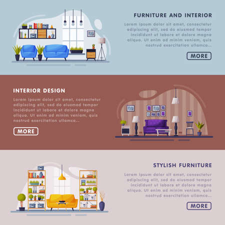 Interiors and Furniture Design Landing Page Templates Set, Trendy Cozy Apartments Space, Creation Home Interior Website Vector Illustration