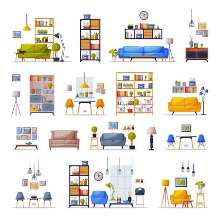Interiors with Comfy Furniture Set, Cozy Living Room or Apartments Trendy Interior Vector Illustration