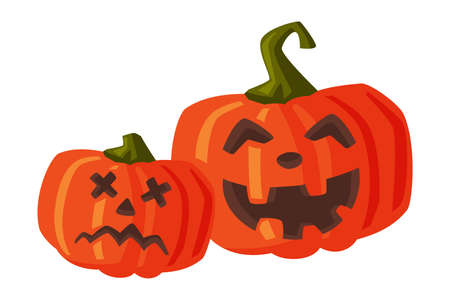 Couple of Halloween Scary Pumpkins with Spooky Faces, Happy Halloween Objects Cartoon Style Vector Illustration on White Background
