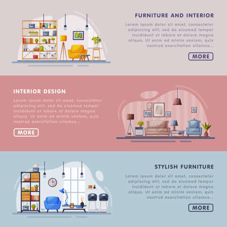 Stylish Interior and Furniture Design Landing Page Templates Set, Cozy Living Space, Creation Home Interior Website Vector Illustration