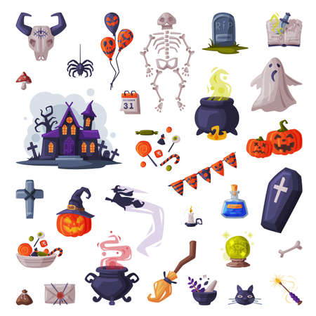 Halloween Symbols Big Set, Holiday Party Design Elements Cartoon Style Vector Illustration Ilustrace