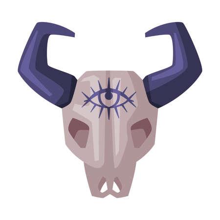 Bull Animal Skull Bone, Happy Halloween Object Cartoon Style Vector Illustration on White Background