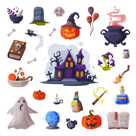 Halloween Symbols Collection, Holiday Party Design Elements, Scary Gothic House, Pumpkin, Witch Cauldron, Ghost, Magic Book Cartoon Style Vector Illustration