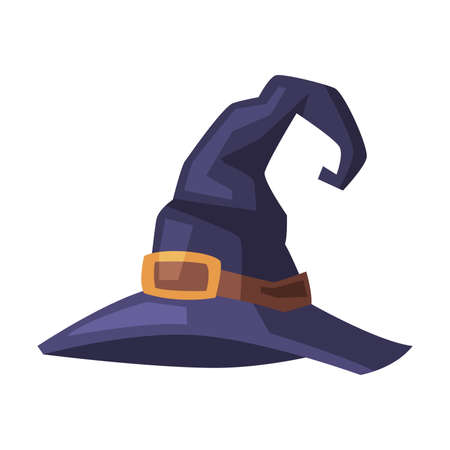 Black Witch Hat, Witchcraft Attribute, Happy Halloween Object Cartoon Style Vector Illustration on White Background
