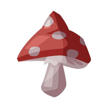 Amanita Poisonous Mushroom, Happy Halloween Object Cartoon Style Vector Illustration on White Background