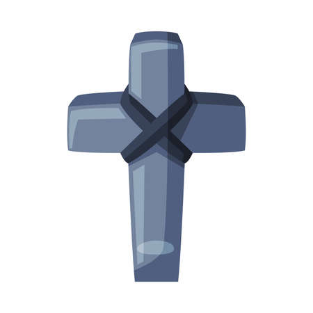 Ancient Stone Cross, Happy Halloween Object Cartoon Style Vector Illustration on White Background 일러스트