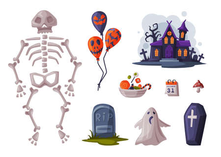 Halloween Symbols Collection, Holiday Party Design Elements, Skeleton, Balloon, Coffin, Gravestone, Castle Cartoon Style Vector Illustration