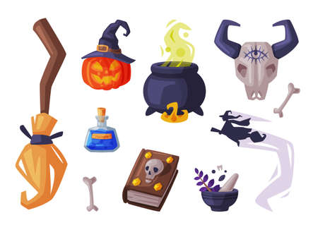 Halloween Symbols Collection, Holiday Party Design Elements, Broom, Pumpkin, Witch Cauldron, Buffalo Skull, Magic Book Cartoon Style Vector Illustration Ilustrace