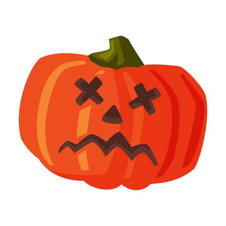 Halloween Scary Pumpkin, Happy Halloween Object Cartoon Style Vector Illustration on White Background