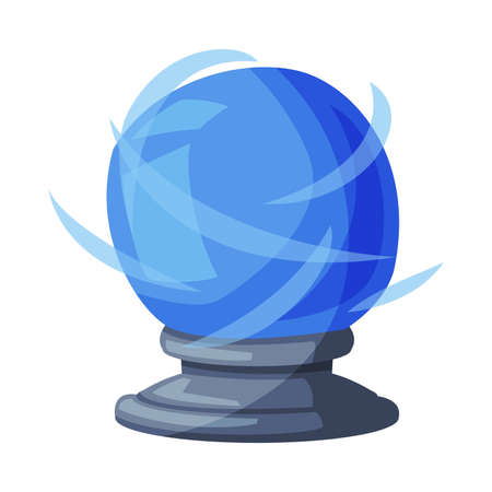 Blue Fortune Telling Magic Crystal Ball, Witchcraft Attribute, Happy Halloween Object Cartoon Style Vector Illustration on White Background