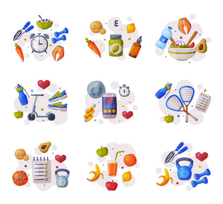 Sports and Healthy Lifestyle Set, Various Fitness and Sport Equipment, Nutritious Food Cartoon Style Vector Illustration
