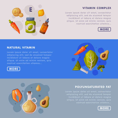 Natural Vitamin Complex, Polyunsaturated Fat Landing Page Templates Set, Proper Nutrition, Supplements, Products with Health Benefits Cartoon Style Vector Illustration Ilustracja
