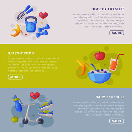 Healthy Lifestyle, Food, Daily Schedule Landing Page Templates Set, Proper Nutrition Food, Fitness and Sport Cartoon Style Vector Illustration Ilustracja