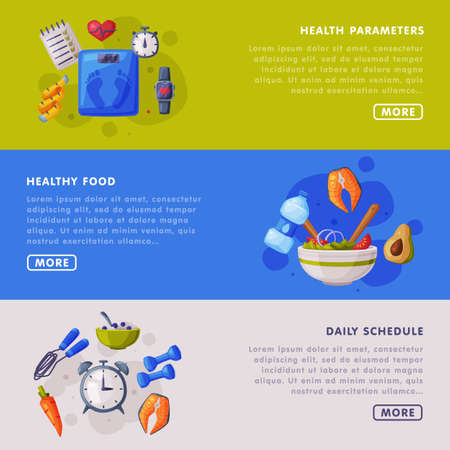 Health Parameters, Daily Schedule Landing Page Templates Set, Proper Nutrition Food, Healthy Lifestyle Concept Cartoon Style Vector Illustration