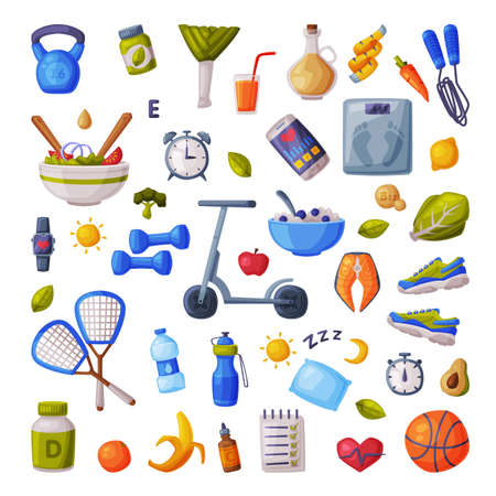 Healthy Lifestyle and Diet Big Set, Various Fitness and Sports Equipment, Useful Food, Proper Nutrition, Supplements Cartoon Style Vector Illustration Ilustracja