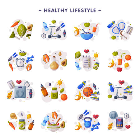 Healthy Lifestyle Set, Fitness and Sports Equipment, Proper Nutrition, Dieting Cartoon Style Vector Illustration Ilustracja