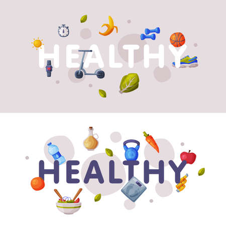 Healthy Lifestyle Banners Set, Fitness and Sports, Proper Nutrition Food Cartoon Style Vector Illustration