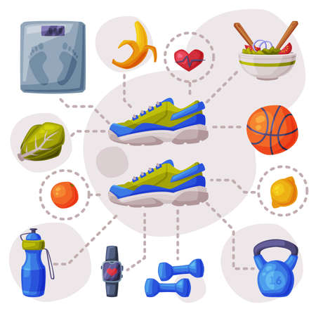 Sports and Healthy Lifestyle Set, Sneakers, Various Sports Equipment and Healthy Food Ilustracja