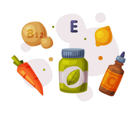 Healthy Diet, Useful Food, Proper Nutrition, Supplements, Products with Health Benefits Cartoon Style Vector Illustration