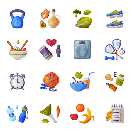 Healthy Lifestyle Set, Fitness and Sports Equipment, Useful Nutritious Food Cartoon Style Vector Illustration
